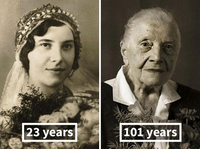 Marie Burešová, 23 Years Old (Wedding), 101 Years Old