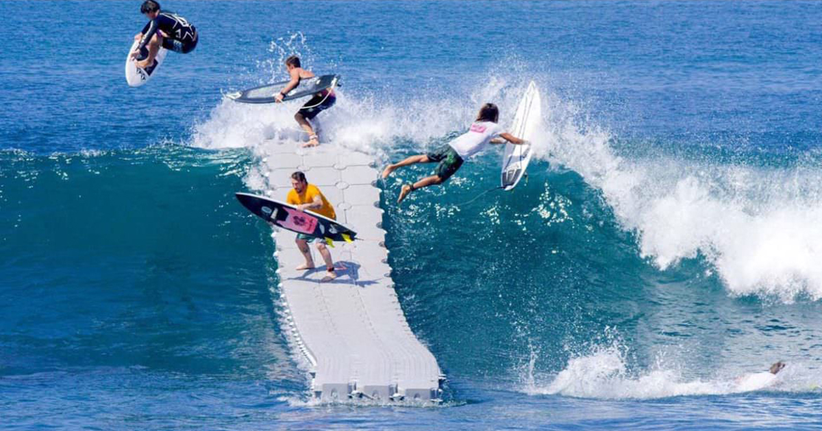 Surfing From A Floating Dock Looks Like A Slip And Slide
