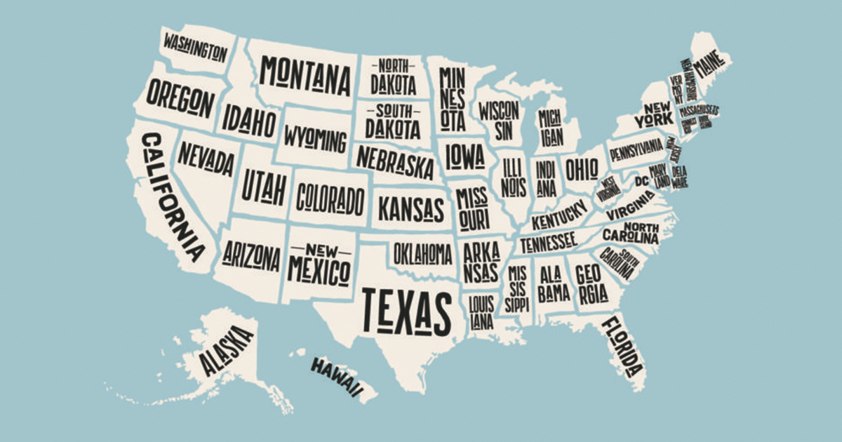 Only One Letter In The Alphabet Is Not In Any US States Name - Us Map Showing Only Names Of States