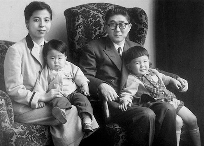 A Young Shinzo Abe, Japan's Prime Minister (bottom Left) Pictured With His Family In 1956