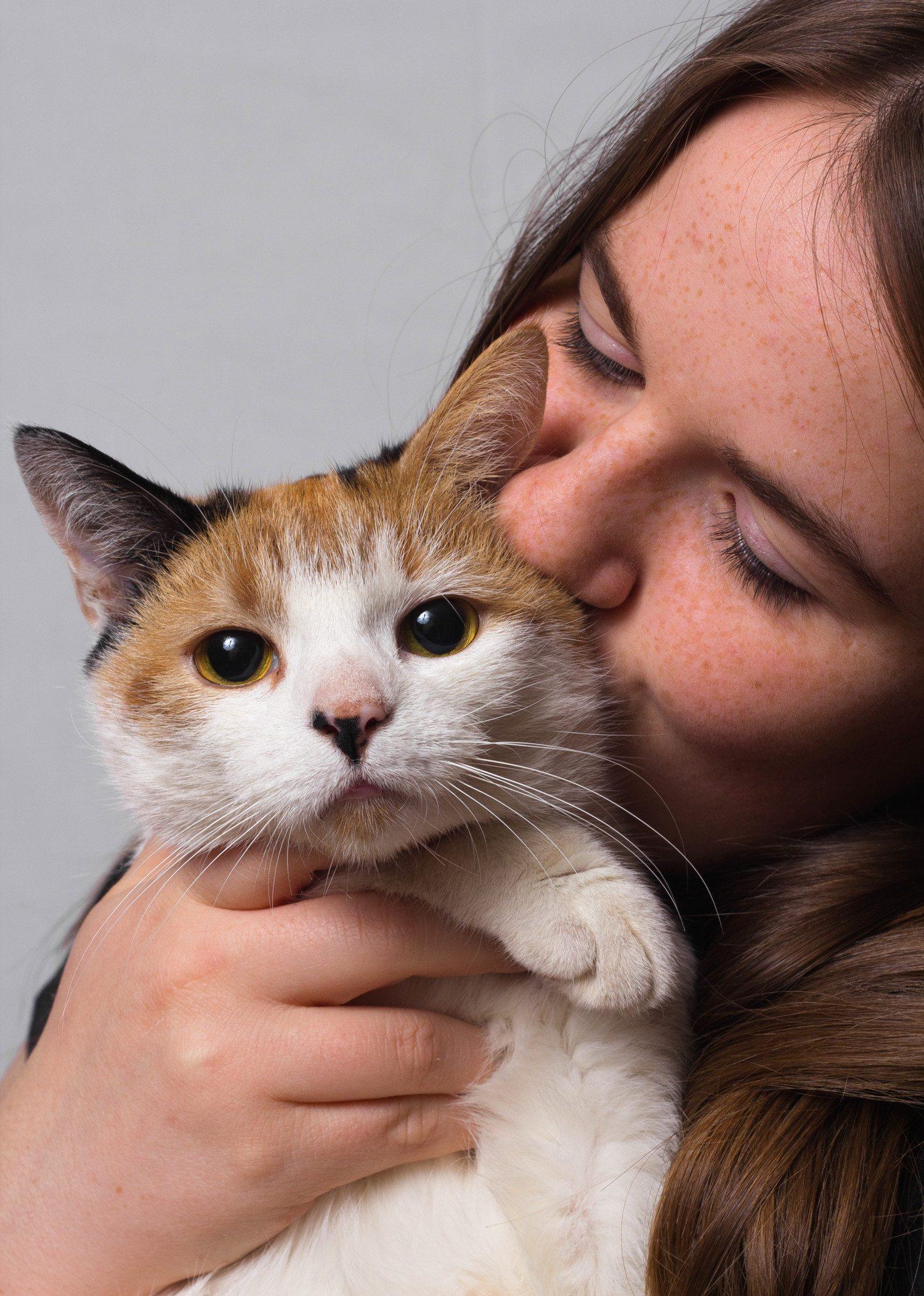 holding cat photo